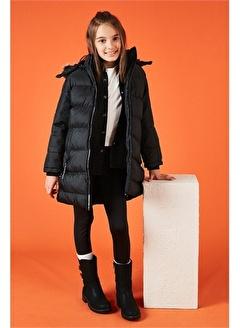 Lela Lela Yakası Suni Kürklü Kapüşonlu Şişme Mont Kız Çocuk